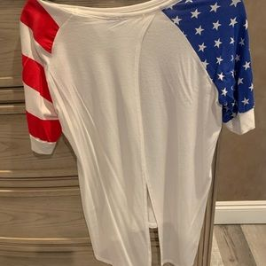 Red white and blue blouse
